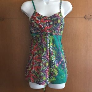 Tops - 💋Strap Too Blouse Tank Tie Floral Green Pink Boho